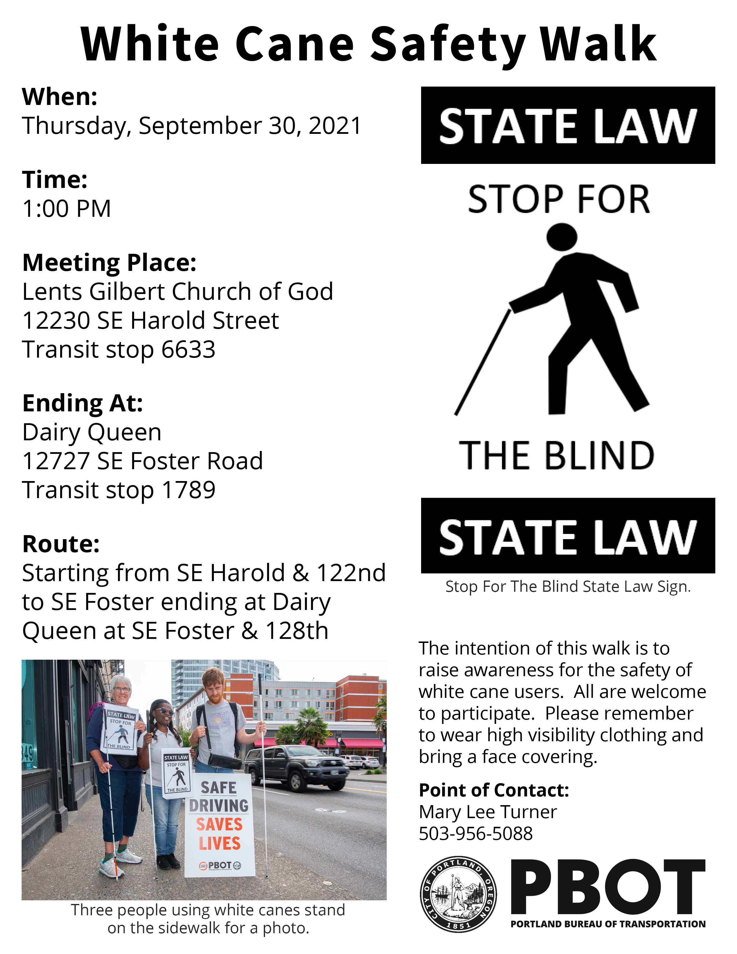Image 1: Stop for the blind state law sign. Image 2: Three people using white canes stand on the sidewalk for a photo.